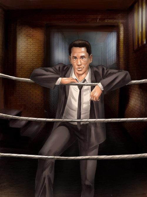 Storyboard de um gerente de boxe no ringue