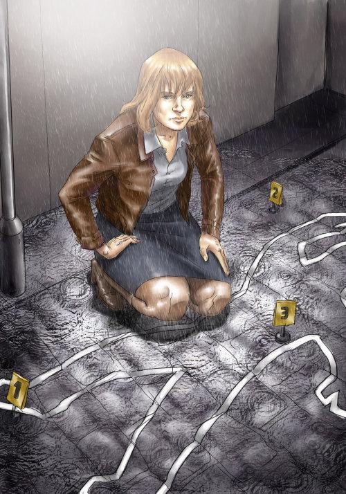Imagem de uma mulher no local do assassinato