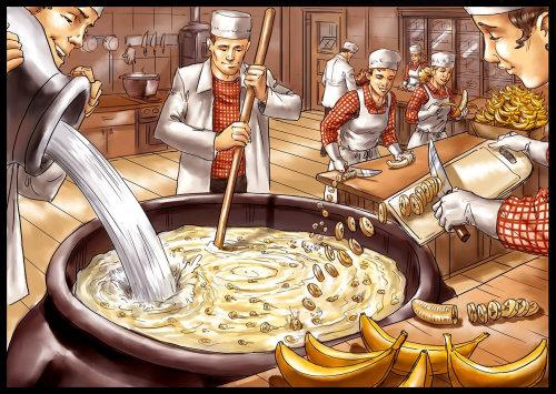 Pessoas preparando sopa na cozinha