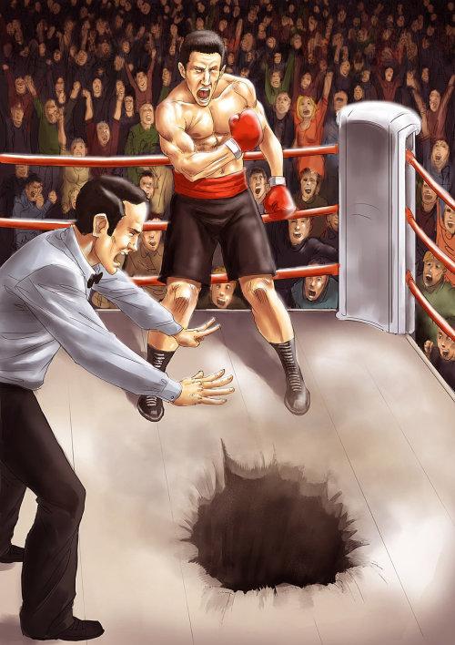 Desenho de um boxeador fazendo um buraco no ringue