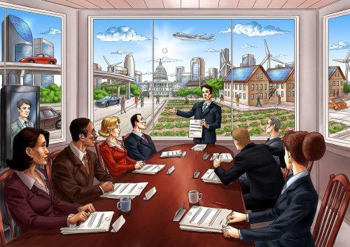 Storyboard de desenho animado de pessoas em reunião