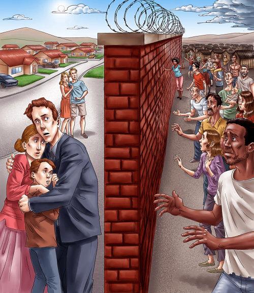 Desenho de pessoas em ambos os lados da parede