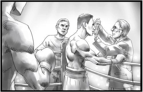 Linha preta e branca do boxeador no intervalo