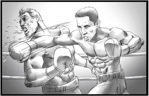 Linha preta e branca de socos do boxeador