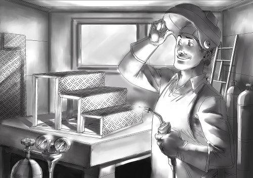 Storyboard técnico de homem soldando