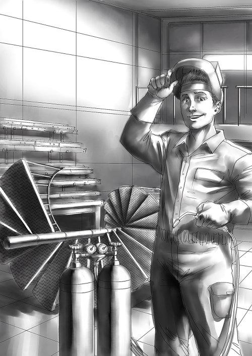 Homem técnico com máquina de solda