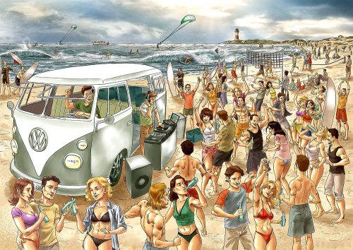 Pessoas curtindo na praia