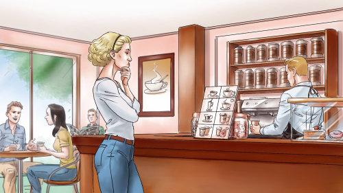 Mulher na cafeteria