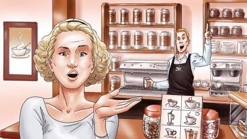 Mulher chocada em cafeteria