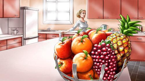 Ilustração de frutas na cozinha