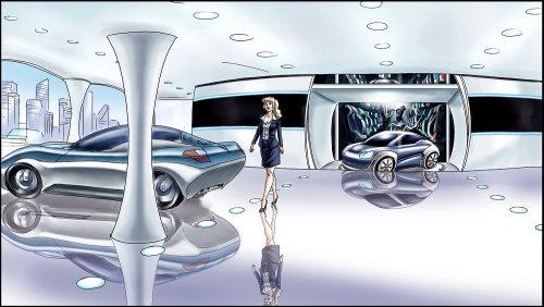 Ilustração gráfica de showroom de automóveis