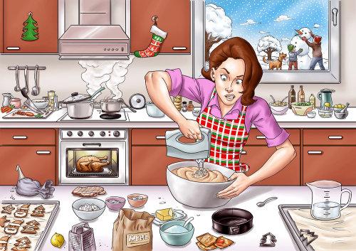 Ilustração dos desenhos animados de mulher com batedeira
