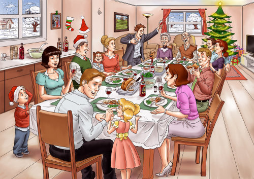 Drawing of whole family enjoying meal together