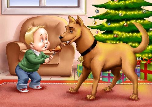 Ilustração dos desenhos animados de menino alimentando cachorro
