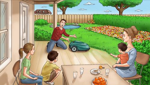 Ilustração gráfica de família brincando no gramado