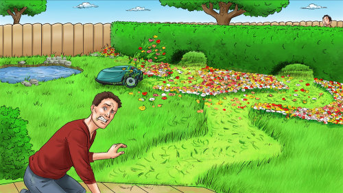 Desenho de um homem estressado com gramado estragado