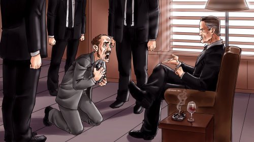 Comic scene of man begging to mafia