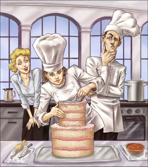 Storyboard do chef preparando bolo