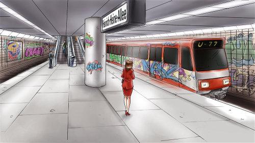 Storyboard da mulher no metrô