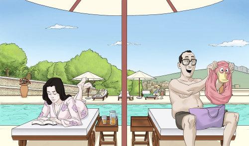 Storyboard de casal na piscina