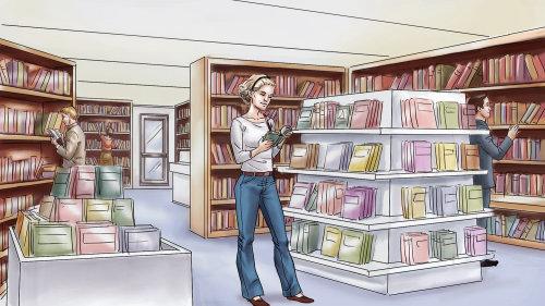Storyboard gráfico de mulher na biblioteca