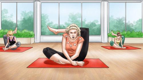 Storyboard gráfico da prática de ioga