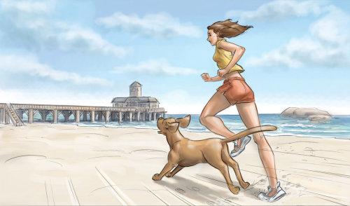 Arte gráfica de mulher com cachorro na praia