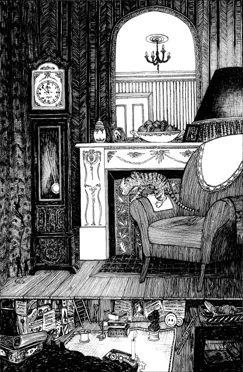 Black and white illustration of living room