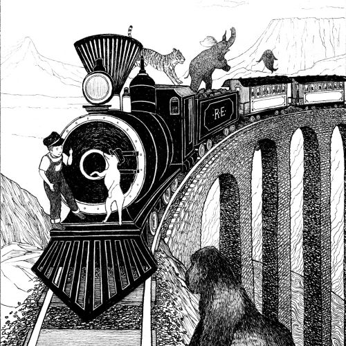 Kid and animals playing on a moving train by Rohan Eason