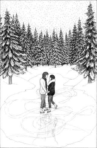 Pen and ink illustration of couple