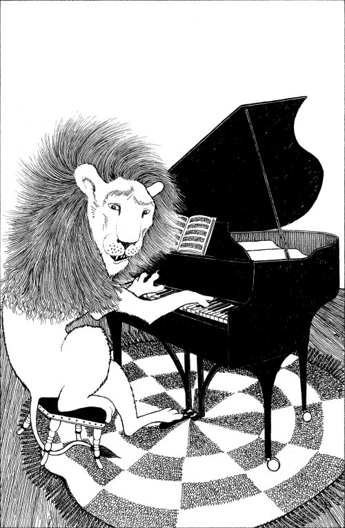Pencil Sketch of Lion Plays Piano