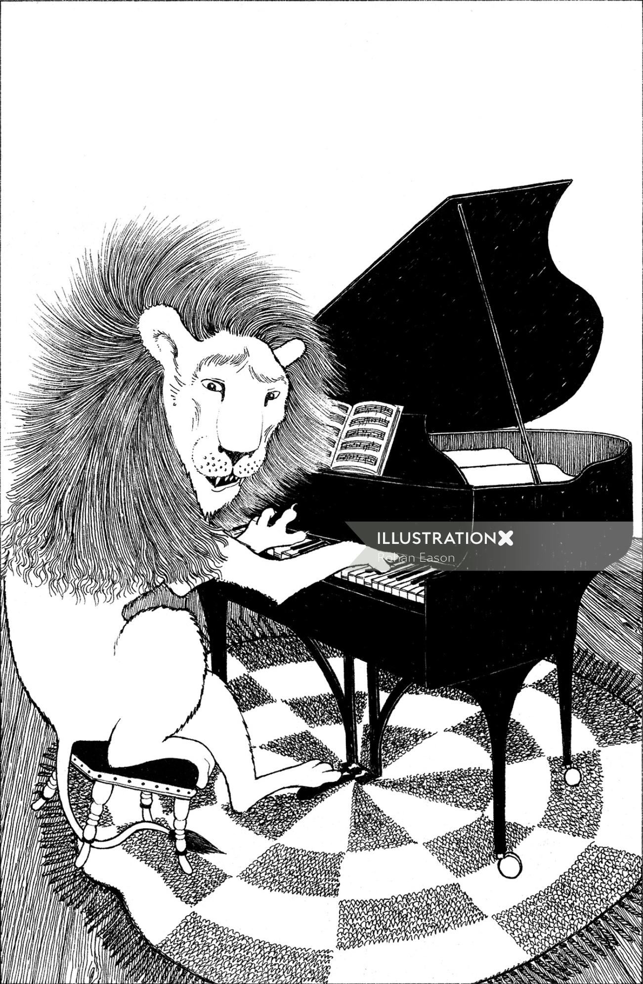 Pencil Sketch of Lion Plays Piano