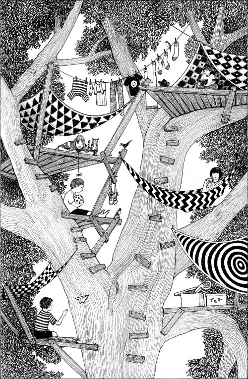 Tree houses black and white illustration