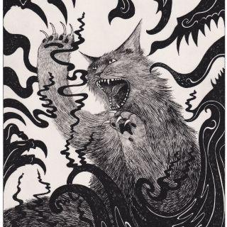 Black & white drawing of horror cat