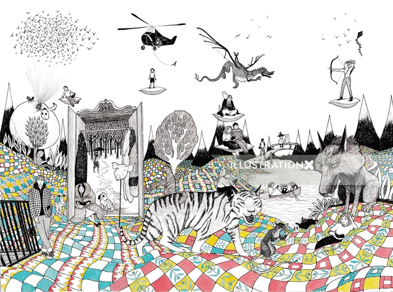 People & Animals Illustration For The Story Cure