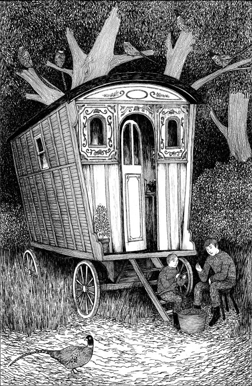 Black & White illustration of a cart