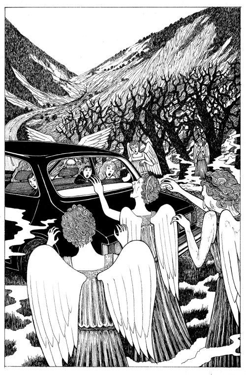 illustration of bunch of scary angels surrounding people sitting in car