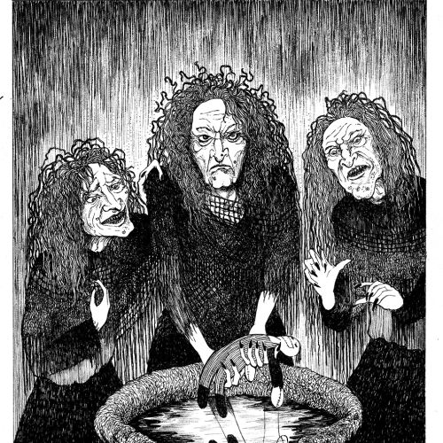 Black & white sketch of three female monsters