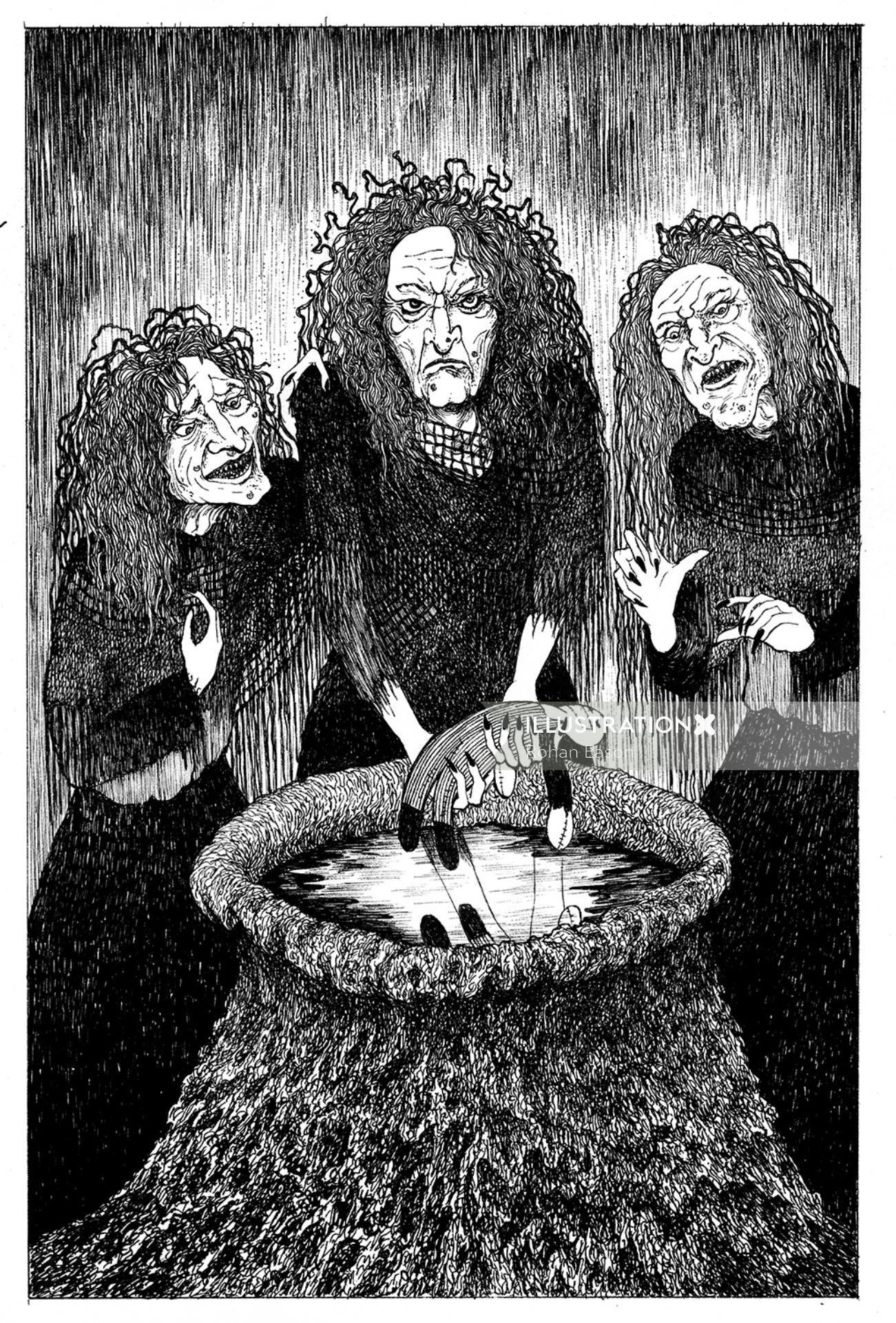 Black & white sketch of three female monsters