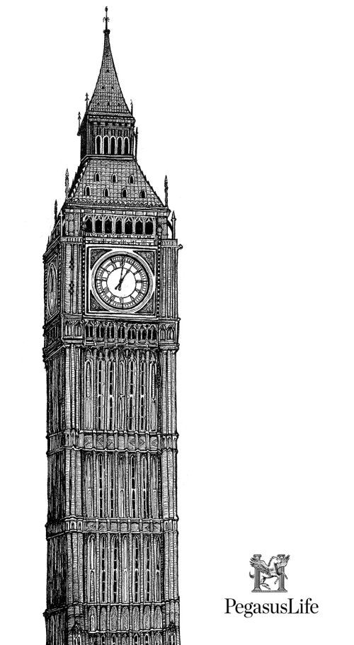 Black and white illustration of clock tower
