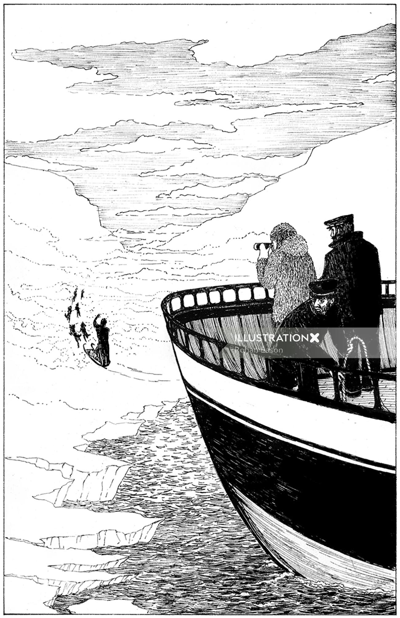 Black & white ship in the ice