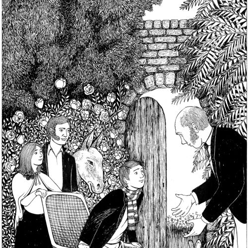Black and white illustration of The secret garden