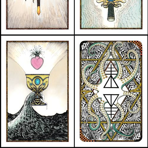 Line art power tarot cards