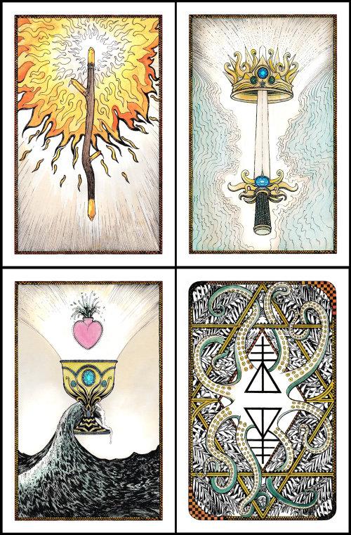 Line art power tarot cards