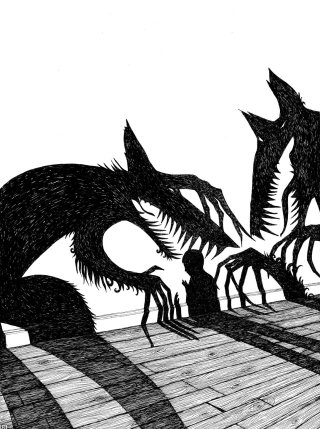 scary wolfs and boy illustration by Rohan Eason