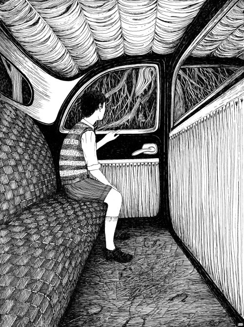 Children's Book Illustration Of Boy In Car
