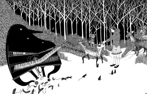 Piano in the Forest - an illustration from 'Anna and the Witch's Bottle' Children's Book