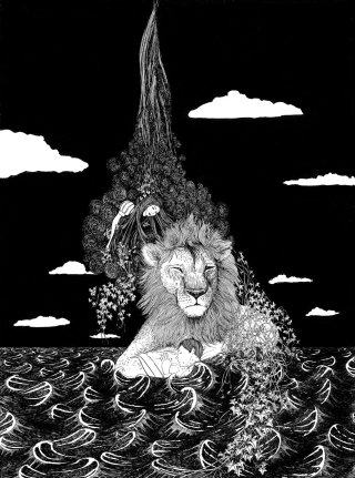 Lion Drawing For Anna & the Juniper Dog