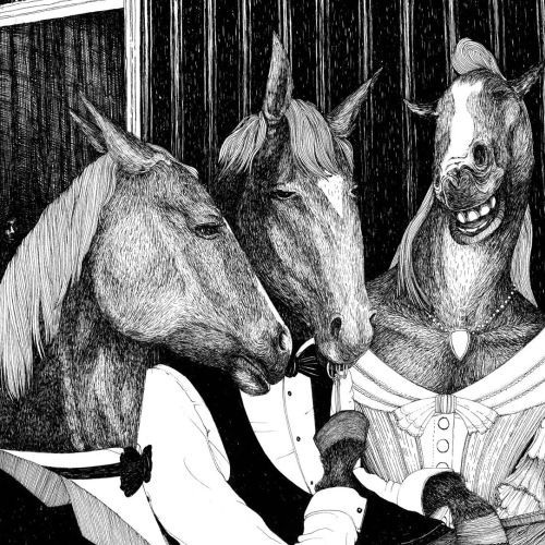 Horse dinner illustration