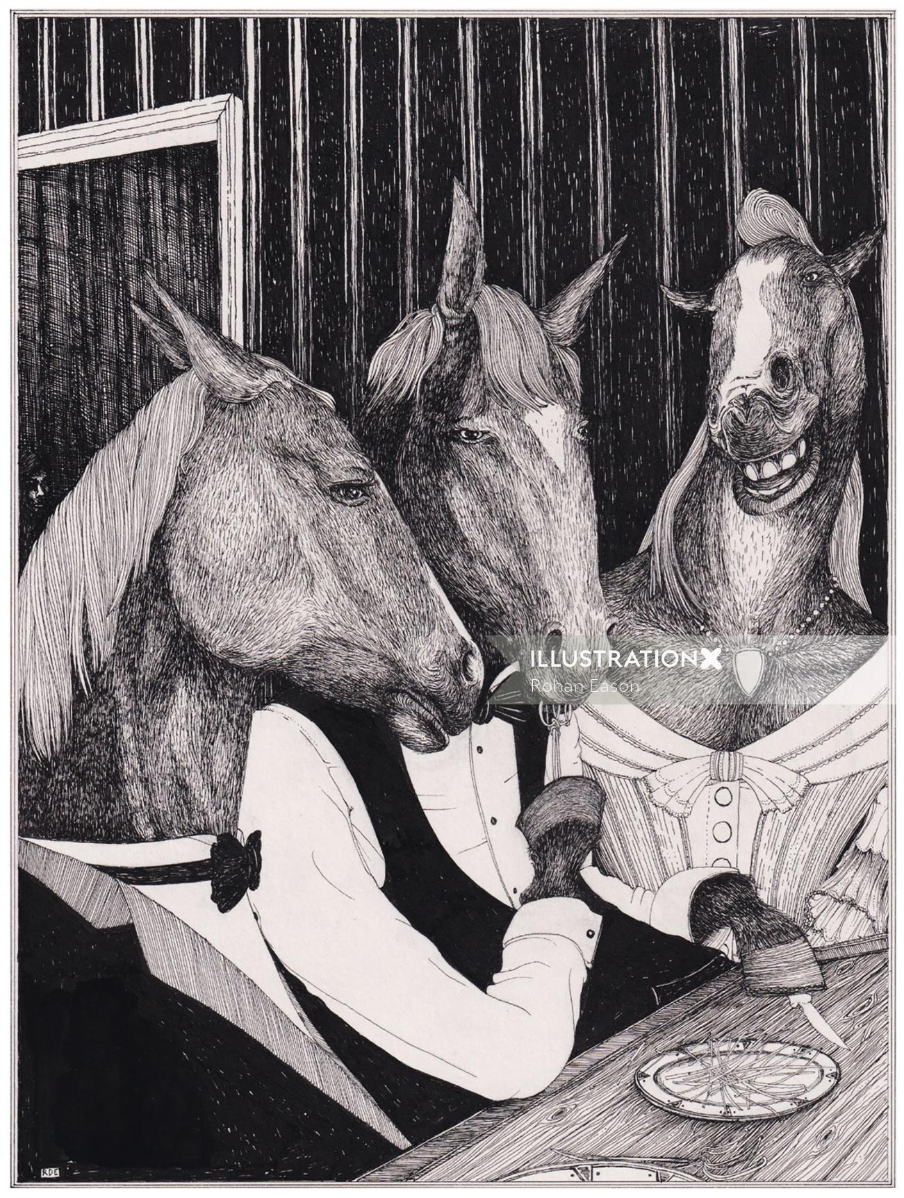 Horse dinner illustration